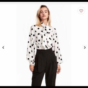 White polka dot button up
